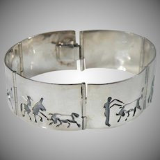 Sterling Silver Signed Link Bullfight Bracelet Taxco Mexico