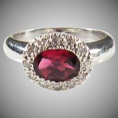 18K White Gold Vintage Red Ruby & Diamond Ring