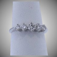 14 K White Gold Vintage Five Stone Diamond Ring Approx. 0.50cttw
