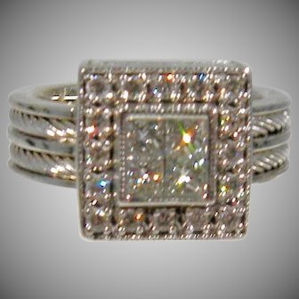 18K Estate Vintage Charriol Flamme Blanch Double Cable Diamond Ring 0.90cttw.