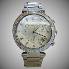 Michael Kors Stainless Steel Watch With CZ Bezel
