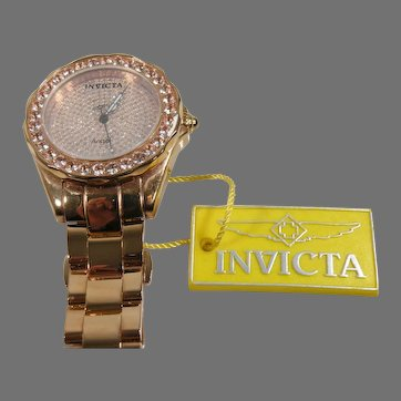 Rose Gold Stainless Steel Vintage Invicta Angel ladies Watch With genuine Morganite  face & Bezel.