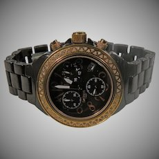 Italian Cocoa Ceramic Ladies Chronograph Watch With Rose Diamond Bezel By Lancaster