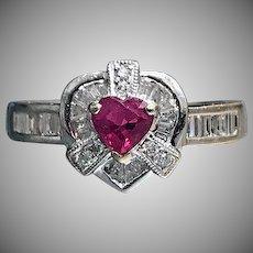 18K White gold custom vintage Diamond  & Ruby Heart Ring
