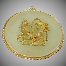 Sterling with Gold Plate overlay Folk Art Chinese Amulet Pendant Vintage Fashion
