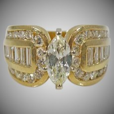 Estate 14 K Yellow Gold Marques Diamond Ring Approx. 2.25cttw.