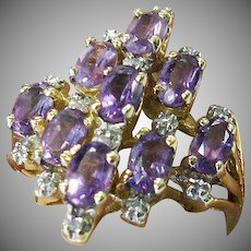 14 K Yellow Gold Amethyst Cluster Ring With Diamond Accents.