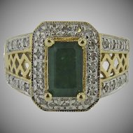 14K Yellow Gold Vintage  Emerald & Micro Pave Diamond Ring