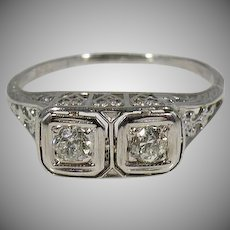18 K White Gold Art Deco Diamond Ring 1920's