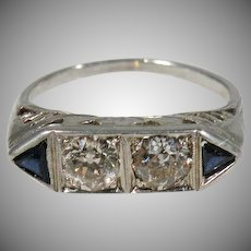 14 K White Gold Art Deco Diamond & French Cut  Sapphire Ring Circa 1920's.