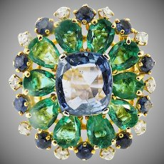18 K Custom Vintage Tanzanite,  Colombian Emerald, Sapphire & Diamond Cluster Ring