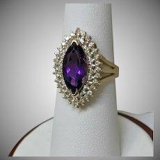 14 K Yellow Gold Ladies Amethyst and Diamond Ring