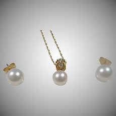 Estate 14K Yellow gold Mikimoto (blue Lagoon) 8MM. Akoya Pearl Earrings & 7MM Matching Pendant