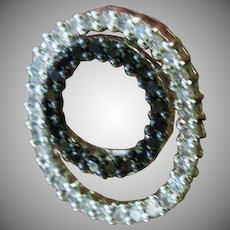 14K White Gold Double Circle Diamond Earrings,  Black and white Diamonds