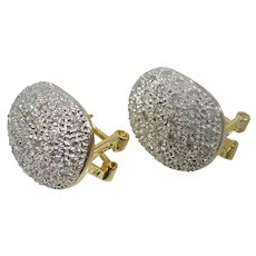 14 K white gold yellow gold diamond pave earrings 0.75cttw.
