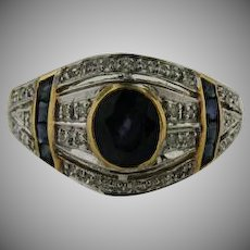 10 K yellow gold Sapphire band Ring with Micro Pave Diamonds.