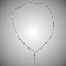 18K White Gold Diamond Necklace Vintage.