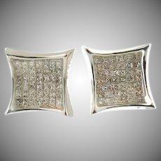 14 K white gold princess cut invisible set diamond square earrings. 2.00cttw.