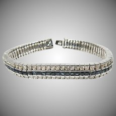 14K White Gold Diamond and Sapphire Tennis Bracelet.