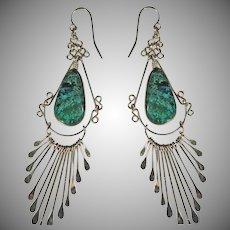 Sterling Silver Dangle Green Turquoise Earrings Vintage.