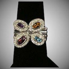 18 K White Gold Multi color gems set of 4 Stack Rings