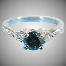 14K White gold  Fancy Blue Natural Diamond  Ring With White Diamond Side Stones