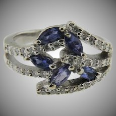 14K White Gold marquise Tanzanite & Pave' Diamond Ring