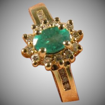 14 K Yellow gold Emerald & Diamond Ring Vintage