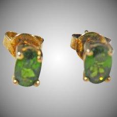 14 K Yellow Gold Tsavorite Green Garnet Stud Earrings 1.10cttw.