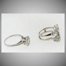 Platinum Vintage Diamond  Engagement Ring in a 2 Piece Ring Guard enhancer