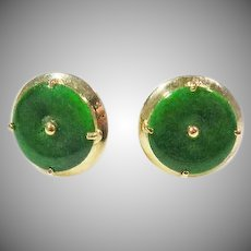 14 K Yellow Gold Dark Green Chinese  Jadite Stud Earrings Vintage