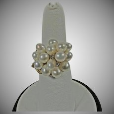 14K Vintage Yellow Gold Custom Cultured Pearl Cluster Ring With Diamond Accents