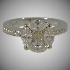 14 K White Gold Princess & Marques Diamond Ring.  Approx. 1.25cttw