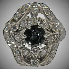14 K White Gold Vintage Blue Sapphire And Diamond Cluster Ring.  2.25cttw.
