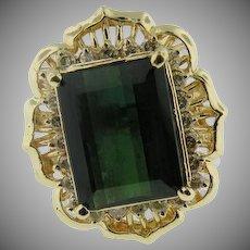 14 K Yellow Gold Custom 12 X 14 Victorian Style Tourmaline Ring