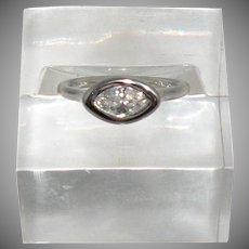 14K White Gold Marques Diamond Ring 0.50cttw