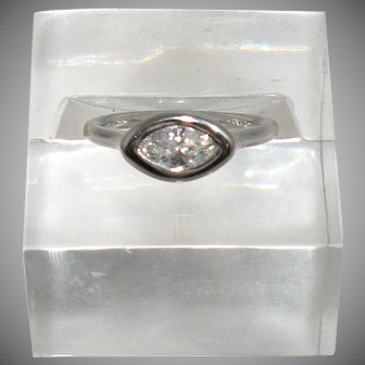 14K White Gold Marques Diamond Ring 0.50cttw