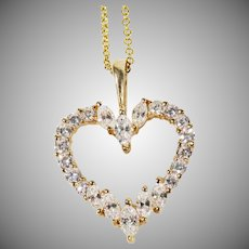 14 K Yellow Gold Diamond Heart Pendant & 18 inch chain 1.00cttw.