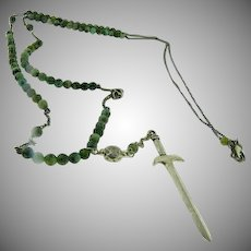 Sterling Silver Chan Lu green agate bead necklace with Sword & Skull.