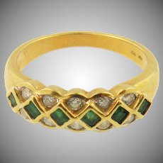 18K yellow gold Emerald & diamond Vintage  Band