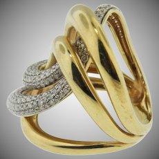 14K Yellow Gold Custom Made Large Diamond Swirl Ring. Vintage