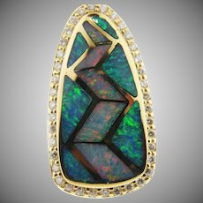 14 K Yellow Gold Inlaid Opal & Diamond Pendant
