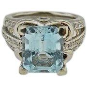 14 K White Gold Aquamarine & Diamond Ring