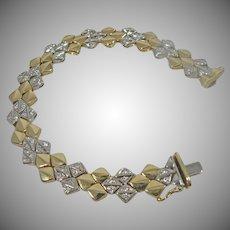 14 K Yellow & White Two Tone Italian Gold Heavy Link Bracelet 1.50cttw.