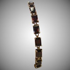 14 K Yellow gold Vintage Red Garnet Link Bracelet