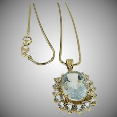 "14K Yellow Gold Aquamarine Necklace 18"" Serpent Chain."