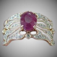14K yellow Gold Pave' Diamond & Ruby Vintage Band Ring