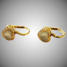 18k  Yellow Gold Pasquale Bruni Vintage Mother of Pearl & Diamond Accent Earrings