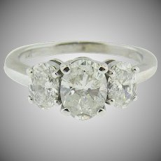14K white gold Trellis Set Oval Three Stone Diamond Ring.  Engagement, Promise, Wedding.