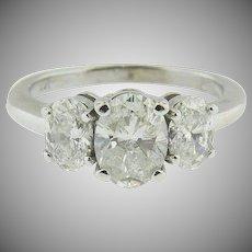 14K white gold Trellis Set Oval Three Stone Diamond Ring.  Engagement, Promise, Wedding.